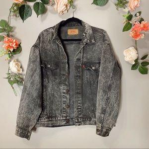 Vintage Levi's black trucker jacket M